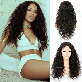 WowEbony Curly Glueless Lace Front Wigs Brazilian Virgin Human Hair [LFW082]