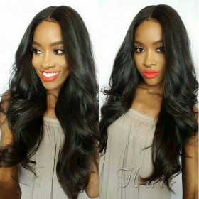WowEbony Indian Remy Hair Body Wave 4*4 Silk Base Lace Front Wigs [SBLFW10]