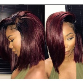 Fast Shipping WoWEbony Blunt Cut Bob Ombre Burgandy Color Preplucked 13X6 Deep Part Lace Front Wig[DLFWBOB10]