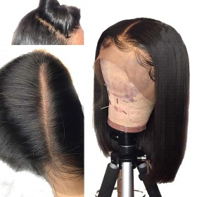 WowEbony 150% Density Natural Color Indian Remy Hair Yaki Straight Bob Cut Lace Front Wigs [DLFWBOB03]