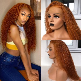Fast Shipping WoWEbony Virgin Human Hair Ginger Color Glueless Lace Front Wigs [Ginger]
