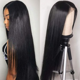 WowEbony Light Yaki Glueless Lace/Silk T Part Lace Front Wig Indian Remy Hair [LPLW06]