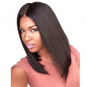 150% density Indian Remy Hair Pre-Plucked 360 Lace Wigs Yaki Straight Bob Wig [360YS02]
