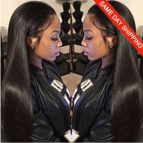 Same Day Shipping: WowEbony Brazilian Virgin or Indian Remy Hair Yaki Straight 360 Lace Wigs [360YS05]