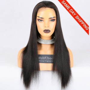 Same Day Shipping Clearance Sale 20 inches Full Lace Wigs With Straps Indian Remy Hair #2 Color 130% Density Small cap size Light Yaki