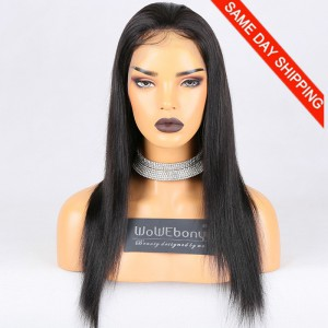 Same Day Shipping Clearance Sale 18 inches Full Lace Wigs Malaysian Virgin Hair #1B Color 130% Density Large cap size Light Yaki