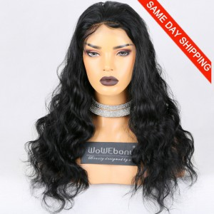 Same Day Shipping Clearance Sale 22 inches Full Lace Wigs Malaysian Virgin Hair #1 Color 130% Density Medium cap size Natural Wave