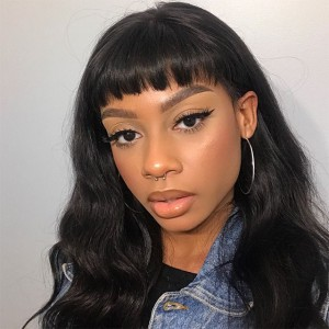 WowEbony Indian Remy Hair Full Bangs Natural Straight Glueless Silk Top Non-Lace Wig[STNLW05]