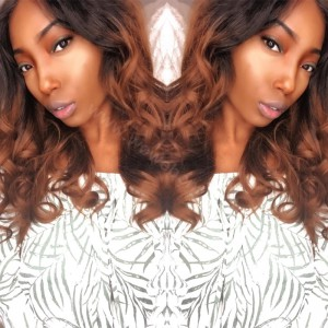 Indian Remy Hair Ombre Brown Glueless Lace Part Lace Wig 150% Density