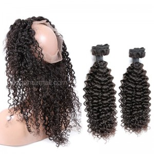 Peruvian Virgin Human Hair 360 Band Lace Frontal 22.5*4*2 Inch + 2 Bundles Water Wave