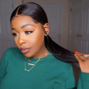 """6"""" Pre-Plucked Indian Remy Hair 360 Lace Wigs 150% density Yaki Straight 360 Wig"""