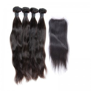 Malaysian virgin unprocessed natural color human hair wefts and 4*4 Lace Closure Natural Straight 4+1 pieces a lot Hair Bundles 95g/pc [MVNS4+1]