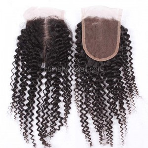 Brazilian Virgin Human Hair 4*4 Popular Lace Closure Afro Kinky Curly  Natural Hair Line and Baby Hair [BVAKCTC]