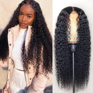 Deep Left Part Lace Front Wigs Indian Remy Hair Permanent Loose Curl Bob Wig [NEW09] Cap Construction