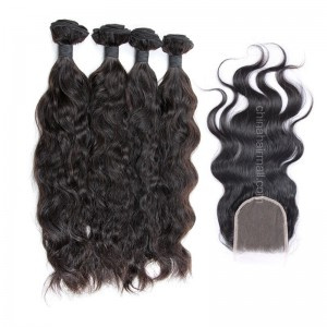 Peruvian virgin unprocessed human hair wefts and 4*4 Lace Closure Natural Wave 4+1 pieces a lot Natural Color Hair Bundles 95g/pc [PVNW4+1]
