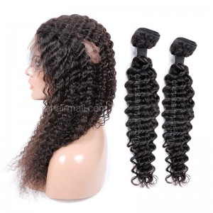 Peruvian Virgin Human Hair 360 Band Lace Frontal With 2 Bundles