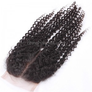 Peruvian Virgin Human Hair 4*4 Popular Lace Closure Afro Curly Natural Hair Line and Baby Hair [PVAKCTC]
