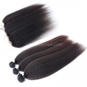 Brazilian virgin unprocessed human hair wefts and 13*4 Lace Frontal Kinky Straight 3+1 pieces a lot Hair Bundles 95g/pc [BVKSLF3+1]