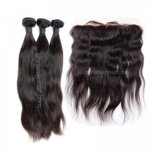 Malaysian virgin unprocessed natural color human hair wefts and 13*4 Lace Frontal Natural Straight 3 +1 pieces a lot Hair Bundles 95g/pc [MVNSLF3+1]