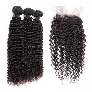 Brazilian virgin unprocessed human hair wefts and 4*4 Lace Closure Kinky Curly 3 +1 pieces a lot Hair Bundles 95g/pc [BVKC3+1]