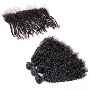 Brazilian virgin unprocessed human hair wefts and 13*4 Lace Frontal Afro Kinky Curly 3+1 pieces a lot Hair Bundles 95g/pc [BVAKCLF3+1]