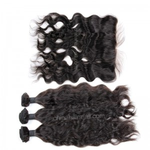 Brazilian virgin unprocessed human hair wefts and 13*4 Lace Frontal Natural Wave 3+1 pieces a lot Hair Bundles 95g/pc [BVNWLF3+1]