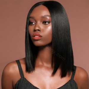 150% density Indian Remy Hair Pre-Plucked 360 Lace Wigs Yaki Straight Bob Wig Blunt Cut Bob