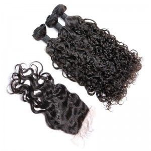 Brazilian virgin unprocessed human hair wefts and 4*4 Lace Closure Loose Curl 3 +1 pieces a lot Hair Bundles 95g/pc [BVLC3+1]