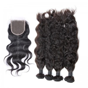 Brazilian virgin unprocessed human hair wefts and 4*4 Lace Closure Natural Wave 4+1 pieces a lot Hair Bundles 95g/pc [BVNW4+1]