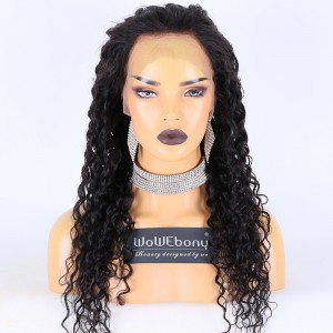 Clearance Sale:WoWEbony Indian Remy Hair 22inches 130% Density 18mm Curl Natural Color Medium Size Full Lace Wigs [C04]
