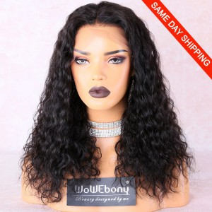 WowEbony 4.5 inch Deep Part Lace Front Wigs Indian Remy Hair Curly [IRH4.5LFW17]