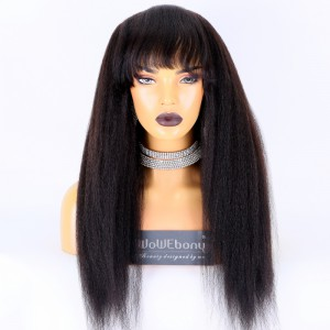 Same Day Shipping:WoWEbony Indain Remy Hair 22inch 180% Density Natural Color As Picture Medium Capsize Kink Straight Texture Silk Top Non-Lace Wigs [CLFW46]