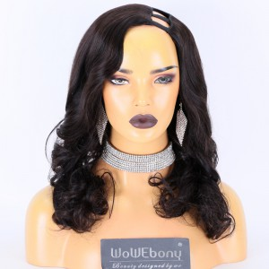 Same Day Shipping:WoWEbony Indain Remy Hair 18inch 180% Density Natural Color As Picture Medium Capsize Wavy Texture Left Side Part Silk Top Non-Lace Wigs [CLFW47]