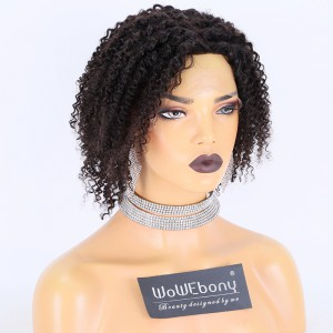 Clearance Sale:WoWEbony Indian Rmey Hair 10inches 130% Density Kinky Curly Natural Color Small Size 4X4 Silk Top Full Lace Wigs [C16]