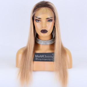 Clearance Sale:WoWEbony Brazilian Virgin Hair 18inches 130% Density Yaki Straight Ombre Color Medium Size Full Lace Wigs [C18]