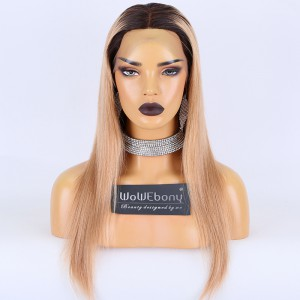 Clearance Sale:WoWEbony Brazilian Virgin Hair 18inches 130% Density Silky Straight Ombre Color Medium Size Full Lace Wigs [C19]