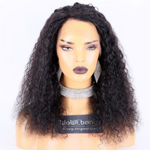 Clearance Sale:WoWEbony Indian Remy Hair 16inches 130% Density Wave #1B Color Medium Size Full Lace Wigs [C20]