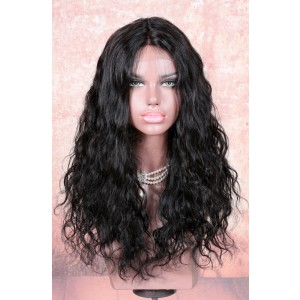 Stock Lace Part Affordable Wigs Indian Remy Hair Yaki Natural Wave 18 Inches, Color #1B, 150% Hair Density [LPLW13]
