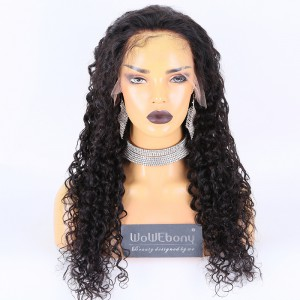 Same Day Shipping:WoWEbony Indain Remy Hair 24inch 180% Density Natural Color As Picture Medium Capsize Loose Curly Texture 13x4 HD Lace Front Wigs [CLFW52]