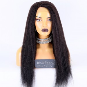 Same Day Shipping:WoWEbony Indain Remy Hair 22inch 180% Density Natural Color As Picture Medium Capsize Kinky Straight Texture Right Side Part Silk T Part Lace Wigs [CLFW54]