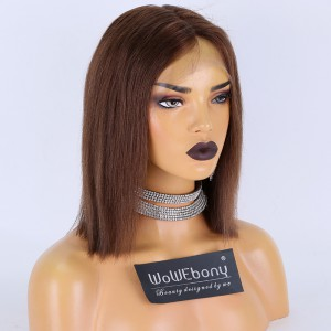 Clearance Sale:WoWEbony Indian Remy Hair 8inches 130% Density Straight #4 Color Medium Size Full Lace Wigs [C22]