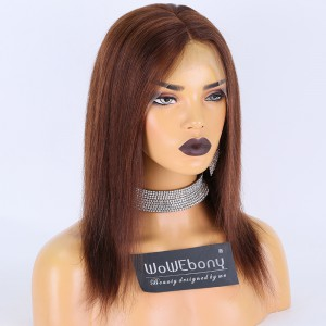 Clearance Sale:WoWEbony Indian Remy Hair 12inches 130% Density Straight #4 Color Medium Size Full Lace Wigs [C23]
