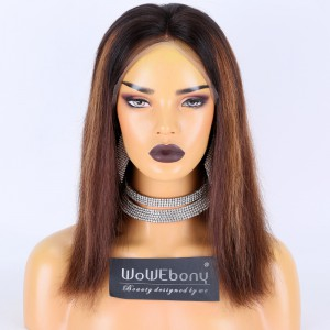 Clearance Sale:WoWEbony Braizilian Virgin Hair 14inches 150% Density Straight Highlight Color Medium Size Full Lace Wigs [C25]