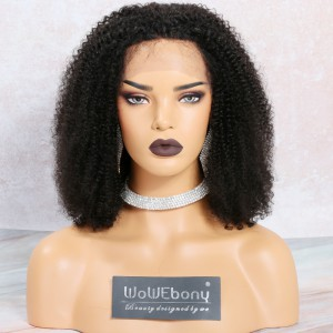 WowEbony Lace Front Wigs Indian Remy Hair, Kinky Coily Bob Cut Lace Front Wig, 150% Density, 14 Inches [LFW102]