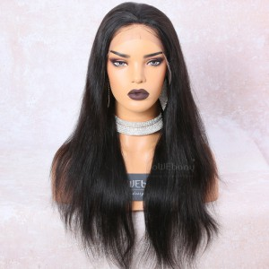WowEbony 6 Inches Deep Part Silky Straight Lace Front Wigs Indian Remy Hair, 150% Density [DLFW01]