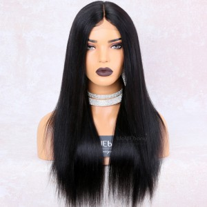 WowEbony 150% Density Yaki Straight Glueless Lace Part Affordable Lace Wig Indian Remy Hair, Medium Cap Size, Color #1B [LPLW19]