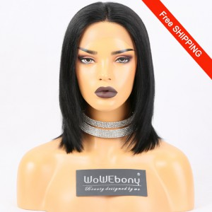 WowEbony Bob Lace Front Wigs Indian Remy Human Hair, Yaki Straight  [LFW104]