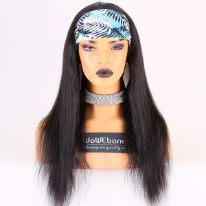 Ship In 3 Days WowEbony Indian Remy Hair Straight Headband Wigs With Free Head Band[HBW07]