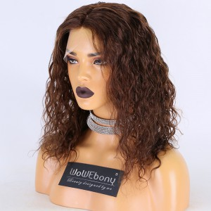 Same Day Shipping Clearance Sale 14 inches #4 Color 130% Density Small Cap Size Remy Hair Curly 4X4 Silk Top Full Lace Wig [TH63]