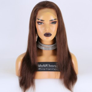 Same Day Shipping Clearance Sale 18 inches #4 Color 180% Density Small cap size Remy Hair Yaki Straight Full Lace Wig [TH65]